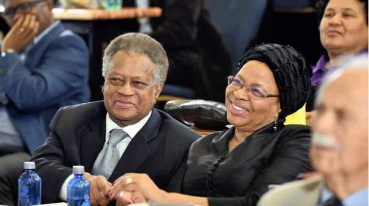 Graça Machel shares a moment with Max Sisulu, son of MaSisulu, during the The Albertina Sisulu Centenary 2018 Memorial Lecture held at the University of Pretoria.