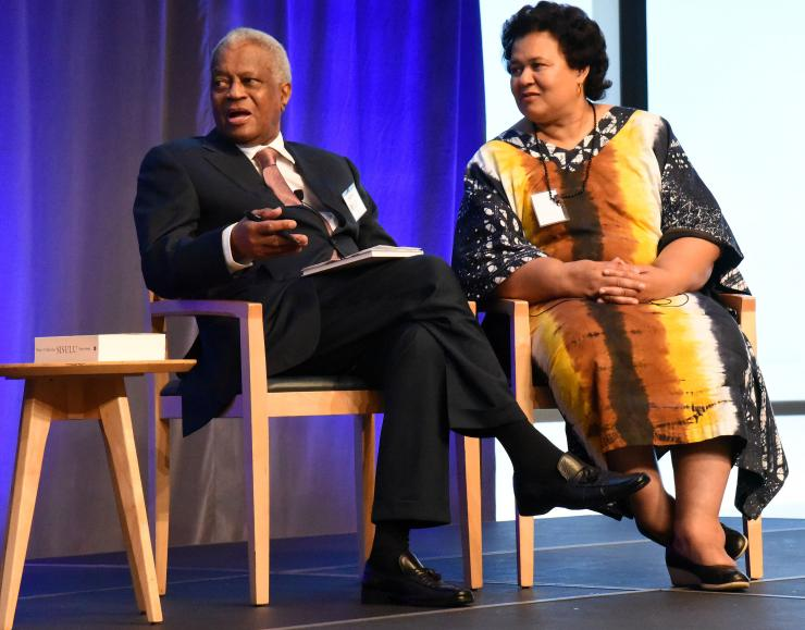 Elinor and Max Sisulu speaking at the June Centenary Lecture